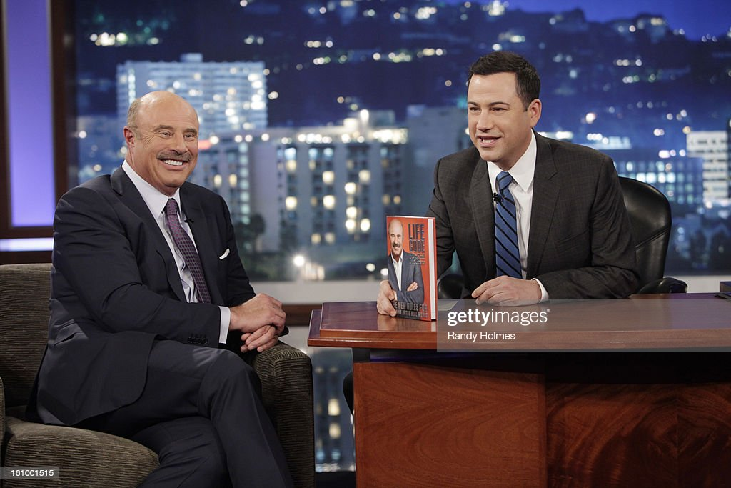 LIVE - Emmy Award-nominated 'Jimmy Kimmel Live' airs every weeknight (11:35 p.m. - 12:41 a.m., ET), packed with hilarious comedy bits and features a diverse lineup of guests including celebrities, athletes, musicians, comedians and humorous human interest subjects. The guests for THURSDAY, FEBRUARY 7 included Dr. Phil McGraw ('Dr. Phil'), Jacoby Jones from the Super Bowl Champion Baltimore Ravens and musical guest Tim McGraw. (Photo by RANDY HOLMES/ABC via Getty Images) DR. PHIL
