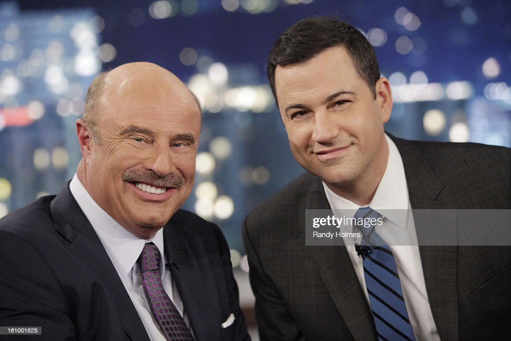LIVE - Emmy Award-nominated 'Jimmy Kimmel Live' airs every weeknight (11:35 p.m. - 12:41 a.m., ET), packed with hilarious comedy bits and features a diverse lineup of guests including celebrities, athletes, musicians, comedians and humorous human interest subjects. The guests for THURSDAY, FEBRUARY 7 included Dr. Phil McGraw ('Dr. Phil'), Jacoby Jones from the Super Bowl Champion Baltimore Ravens and musical guest Tim McGraw. DR. PHIL