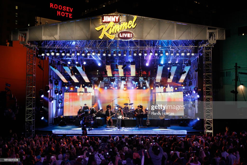 LIVE - Emmy Award-nominated 'Jimmy Kimmel Live' airs every weeknight (11:35 p.m. - 12:41 a.m., ET), packed with hilarious comedy bits and features a diverse lineup of guests including celebrities, athletes, musicians, comedians and humorous human interest subjects. The guests for THURSDAY, FEBRUARY 7 included Dr. Phil McGraw ('Dr. Phil'), Jacoby Jones from the Super Bowl Champion Baltimore Ravens and musical guest Tim McGraw. TIM