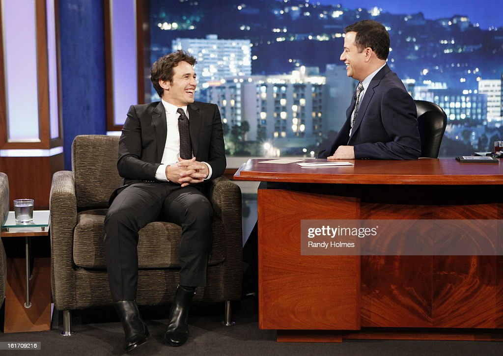 LIVE - Emmy Award-nominated 'Jimmy Kimmel Live' airs every weeknight (11:35 p.m. - 12:41 a.m., ET), packed with hilarious comedy bits and features a diverse lineup of guests including celebrities, athletes, musicians, comedians and humorous human interest subjects. The guests for WEDNESDAY, FEBRUARY 13 included actor James Franco ('Oz: the Great and Powerful'), Chef Nigella Lawson ('The Taste') and musical guest Fall Out Boy. JAMES