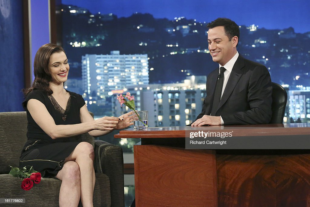 LIVE - Emmy Award-nominated 'Jimmy Kimmel Live' airs every weeknight (11:35 p.m. - 12:41 a.m., ET), packed with hilarious comedy bits and features a diverse lineup of guests including celebrities, athletes, musicians, comedians and humorous human interest subjects. The guests for THURSDAY, FEBRUARY 14 included actress Rachel Weisz ('Oz: the Great and Powerful') and panelist and musical guest Josh Groban. RACHEL