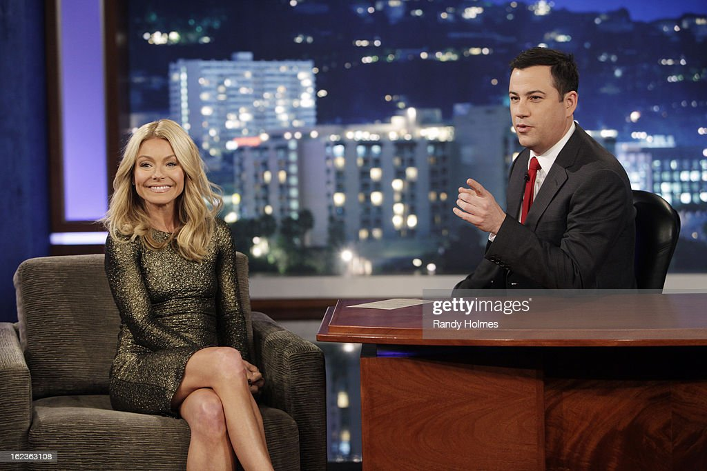 LIVE - Emmy Award-nominated 'Jimmy Kimmel Live' airs every weeknight (11:35 p.m. - 12:41 a.m., ET), packed with hilarious comedy bits and features a diverse lineup of guests including celebrities, athletes, musicians, comedians and humorous human interest subjects. The guests for THURSDAY, FEBRUARY 21 included host Kelly Ripa ('Live With Kelly and Michael'), entrepreneur Elon Musk (Founder of SpaceX and Tesla Motors) and musical guest The Mowgli's. KIMMEL