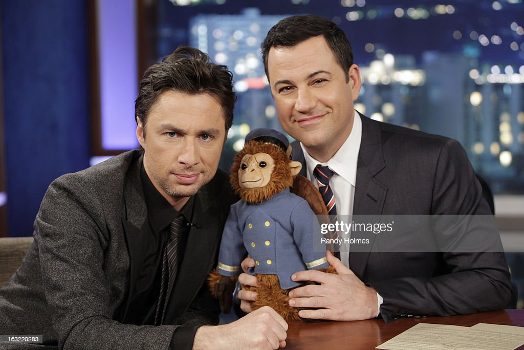LIVE - Emmy Award-nominated 'Jimmy Kimmel Live' airs every weeknight (11:35 p.m. - 12:41 a.m., ET), packed with hilarious comedy bits and features a diverse lineup of guests including celebrities, athletes, musicians, comedians and humorous human interest subjects. The guests for TUESDAY, MARCH 5 included Actor Zach Braff ('Oz: The Great and Powerful'), Actress Lauren Cohan ('The Walking Dead') and musical guest Sound City Players. ZACH