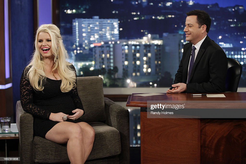LIVE - Emmy Award-nominated 'Jimmy Kimmel Live' airs every weeknight (11:35 p.m. - 12:41 a.m., ET), packed with hilarious comedy bits and features a diverse lineup of guests including celebrities, athletes, musicians, comedians and humorous human interest subjects. The guests for WEDNESDAY, MARCH 6 included Jessica Simpson ('Fashion Star'), actor Jim Jefferies ('Legit') and musical guest Luke Bryan. JESSICA