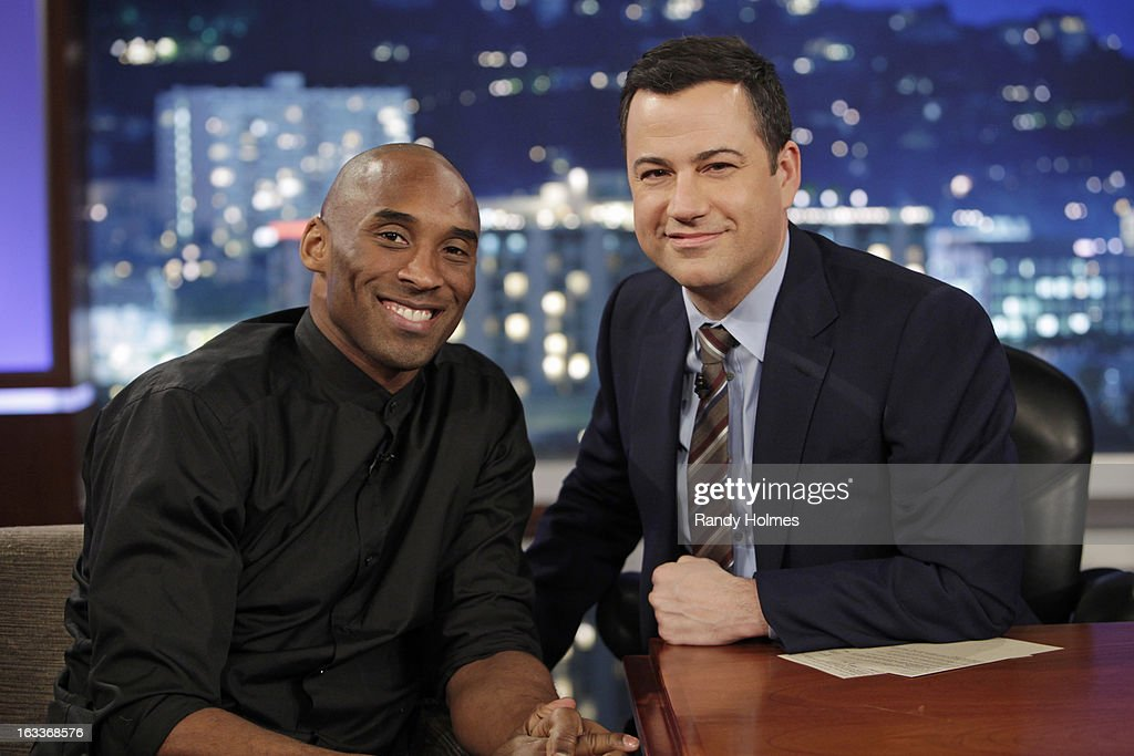 LIVE - Emmy Award-nominated 'Jimmy Kimmel Live' airs every weeknight (11:35 p.m. - 12:41 a.m., ET), packed with hilarious comedy bits and features a diverse lineup of guests including celebrities, athletes, musicians, comedians and humorous human interest subjects. The guests for THURSDAY, MARCH 7 included NBA/LA Lakers Star Kobe Bryant, Dominic Monaghan ('Wild Things With Dominic Monaghan') and musical guest Rival Sons - also featuring JKL's Unnecessary Censorship. KOBE