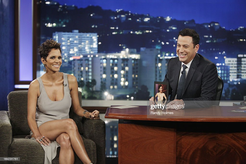 LIVE - Emmy Award-nominated 'Jimmy Kimmel Live' airs every weeknight (11:35 p.m. - 12:41 a.m., ET), packed with hilarious comedy bits and features a diverse lineup of guests including celebrities, athletes, musicians, comedians and humorous human interest subjects. The guests for WEDNESDAY, MARCH 21 included actress Halle Berry ('The Call'), actress Elle Fanning ('Ginger & Rosa') and musical guest RDGLDGRN. HALLE