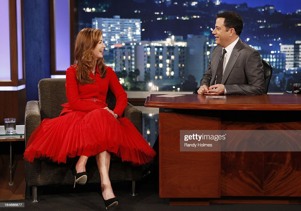 LIVE - Emmy Award-nominated 'Jimmy Kimmel Live' airs every weeknight (11:35 p.m. - 12:41 a.m., ET), packed with hilarious comedy bits and features a diverse lineup of guests including celebrities, athletes, musicians, comedians and humorous human interest subjects. The guests for MONDAY, MARCH 25 included actress Dana Delany ('Body of Proof'), actor Nikolaj Coster-Waldau ('Game of Thrones') and musical guest Dustin Lynch. DANA