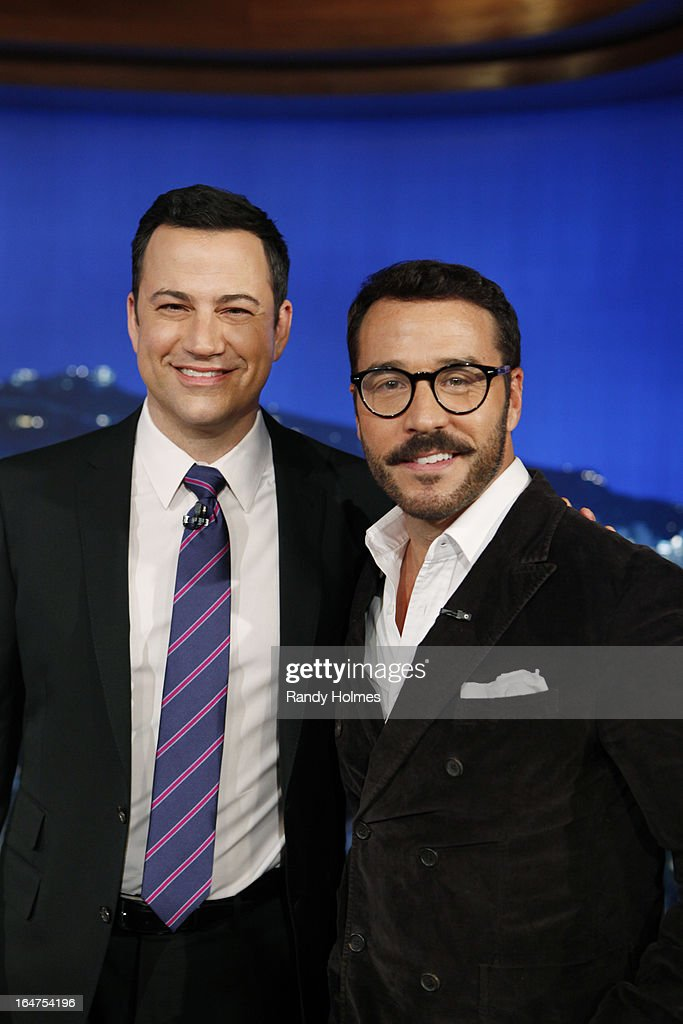 LIVE - Emmy Award-nominated 'Jimmy Kimmel Live' airs every weeknight (11:35 p.m. - 12:41 a.m., ET), packed with hilarious comedy bits and features a diverse lineup of guests including celebrities, athletes, musicians, comedians and humorous human interest subjects. The guests for TUESDAY, MARCH 26 included actor Jeremy Piven ('Mr. Selfridge'), Former NBA Star Kareem Abdul Jabbar ('Splash') and musical guest Kid Cudi. JEREMY