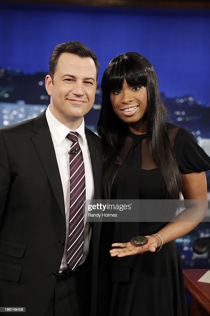 LIVE - Emmy Award-nominated 'Jimmy Kimmel Live' airs every weeknight (11:35 p.m. - 12:41 a.m., ET), packed with hilarious comedy bits and features a diverse lineup of guests including celebrities, athletes, musicians, comedians and humorous human interest subjects. The guests for MONDAY, APRIL 15 included actress Jennifer Hudson ('Call Me Crazy'), comedian Bob Saget ('Bob Sage: That's What I'm Talkin' About') and musical guest Yeah Yeah Yeahs. JIMMY