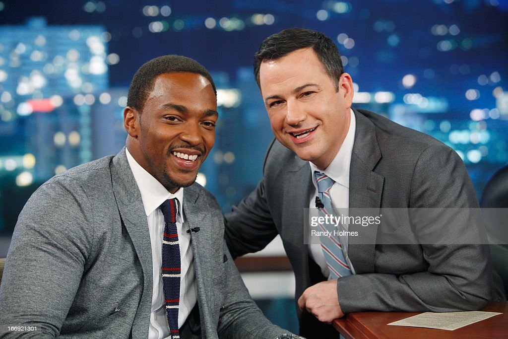 LIVE - Emmy Award-nominated 'Jimmy Kimmel Live' airs every weeknight (11:35 p.m. - 12:41 a.m., ET), packed with hilarious comedy bits and features a diverse lineup of guests including celebrities, athletes, musicians, comedians and humorous human interest subjects. The guests for WEDNESDAY, APRIL 17 included actor Harrison Ford ('42'), actor Anthony Mackie ('Pain & Gain') and musical guest M83. ANTHONY
