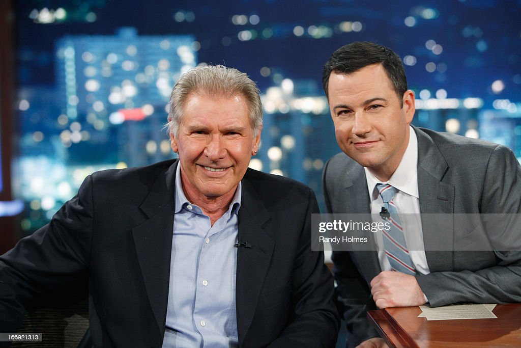 LIVE - Emmy Award-nominated 'Jimmy Kimmel Live' airs every weeknight (11:35 p.m. - 12:41 a.m., ET), packed with hilarious comedy bits and features a diverse lineup of guests including celebrities, athletes, musicians, comedians and humorous human interest subjects. The guests for WEDNESDAY, APRIL 17 included actor Harrison Ford ('42'), actor Anthony Mackie ('Pain & Gain') and musical guest M83. HARRISON
