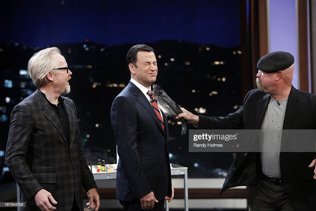 LIVE - Emmy Award-nominated 'Jimmy Kimmel Live' airs every weeknight (11:35 p.m. - 12:41 a.m., ET), packed with hilarious comedy bits and features a diverse lineup of guests including celebrities, athletes, musicians, comedians and humorous human interest subjects. The guests for WEDNESDAY, APRIL 24 included actor Topher Grace ('The Big Wedding'), 'Myth Busters'' Adam Savage and Jamie Hyneman and musical guest Depeche Mode. ADAM