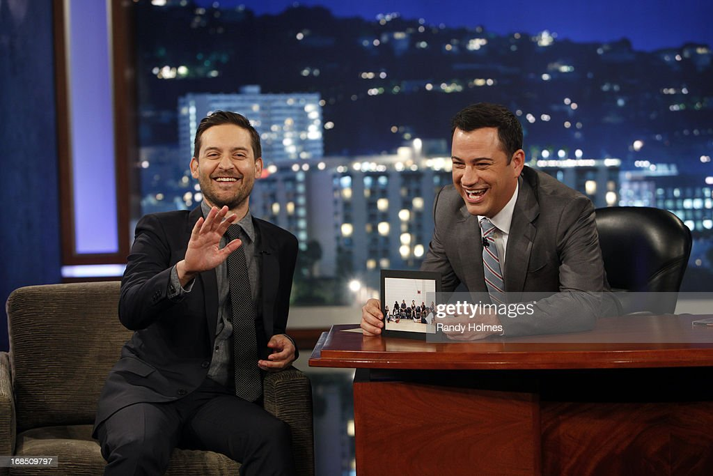 LIVE - Emmy Award-nominated 'Jimmy Kimmel Live' airs every weeknight (11:35 p.m. - 12:41 a.m., ET), packed with hilarious comedy bits and features a diverse lineup of guests including celebrities, athletes, musicians, comedians and humorous human interest subjects. The guests for THURSDAY, MAY 9 included actor Tobey Maguire ('The Great Gatsby'), actress Kerry Washington ('Scandal') and musical guest Will.I.Am - also featuring JKL's Unnecessary Censorship. TOBEY