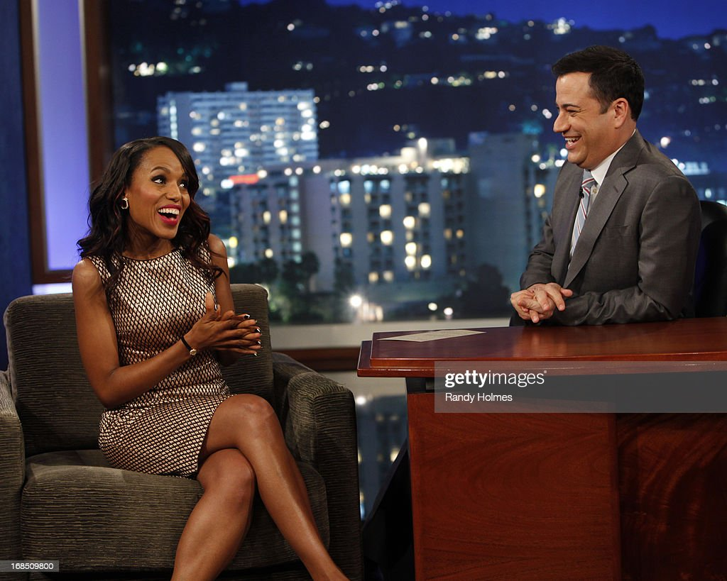 LIVE - Emmy Award-nominated 'Jimmy Kimmel Live' airs every weeknight (11:35 p.m. - 12:41 a.m., ET), packed with hilarious comedy bits and features a diverse lineup of guests including celebrities, athletes, musicians, comedians and humorous human interest subjects. The guests for THURSDAY, MAY 9 included actor Tobey Maguire ('The Great Gatsby'), actress Kerry Washington ('Scandal') and musical guest Will.I.Am - also featuring JKL's Unnecessary Censorship. KERRY