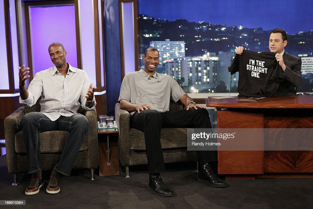 LIVE - Emmy Award-nominated 'Jimmy Kimmel Live' airs every weeknight (11:35 p.m. - 12:41 a.m., ET), packed with hilarious comedy bits and features a diverse lineup of guests including celebrities, athletes, musicians, comedians and humorous human interest subjects. The guests for WEDNESDAY, MAY 15 included NBA Player Jason Collins and his twin brother Jarron, J.J. Abrams ('Star Trek Into Darkness') and musical guest Huey Lewis and The News. JARRON