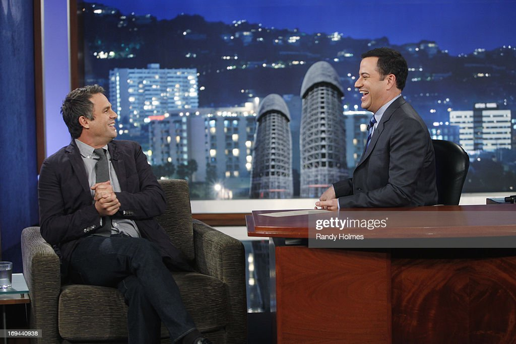 LIVE - Emmy Award-nominated 'Jimmy Kimmel Live' airs every weeknight (11:35 p.m. - 12:41 a.m., ET), packed with hilarious comedy bits and features a diverse lineup of guests including celebrities, athletes, musicians, comedians and humorous human interest subjects. The guests for THURSDAY, MAY 23 included Actor Mark Ruffalo ('Now You See Me'), Scrabble Champions Kevin Bowerman and Raymond Gao and musical guest Reggie Watts. MARK