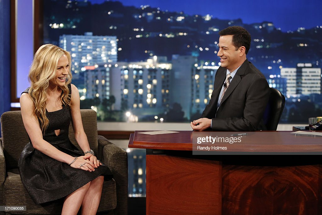 LIVE - Emmy Award-nominated 'Jimmy Kimmel Live' airs every weeknight (11:35 p.m. - 12:41 a.m., ET), packed with hilarious comedy bits and features a diverse lineup of guests including celebrities, athletes, musicians, comedians and humorous human interest subjects. The guests for THURSDAY, JUNE 20 included actress Anna Paquin ('True Blood'), NASCAR Champion Brad Keselowski and musical guest MUSE. KIMMEL