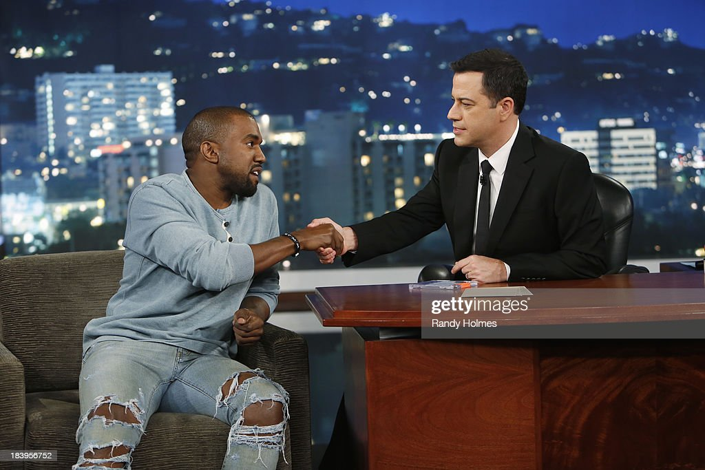 LIVE - Emmy Award-nominated 'Jimmy Kimmel Live' airs every weeknight (11:35 p.m. - 12:41 a.m., ET), packed with hilarious comedy bits and features a diverse lineup of guests including celebrities, athletes, musicians, comedians and humorous human interest subjects. On Wednesday evening, October 9, Jimmy Kimmel welcomed Kanye West to 'Jimmy Kimmel Live.' (Photo by Randy Holmes/ABC via Getty Images) KANYE