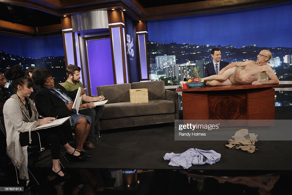LIVE - Emmy Award-nominated 'Jimmy Kimmel Live' airs every weeknight (11:35 p.m. - 12:41 a.m., ET), packed with hilarious comedy bits and features a diverse lineup of guests including celebrities, athletes, musicians, comedians and humorous human interest subjects. The guests for MONDAY, NOVEMBER 11 included actress Zooey Deschanel ('New Girl'), Chris Elliott ('Eagle Heart') and musical guest Frank Turner. JIMMY