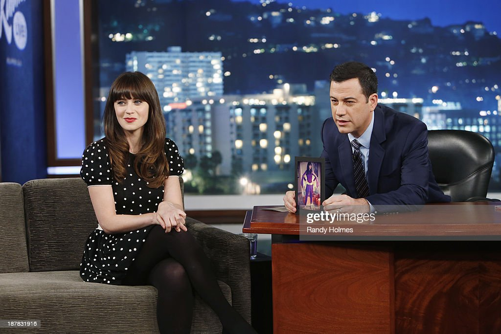 LIVE - Emmy Award-nominated 'Jimmy Kimmel Live' airs every weeknight (11:35 p.m. - 12:41 a.m., ET), packed with hilarious comedy bits and features a diverse lineup of guests including celebrities, athletes, musicians, comedians and humorous human interest subjects. The guests for MONDAY, NOVEMBER 11 included actress Zooey Deschanel ('New Girl'), Chris Elliott ('Eagle Heart') and musical guest Frank Turner. ZOOEY