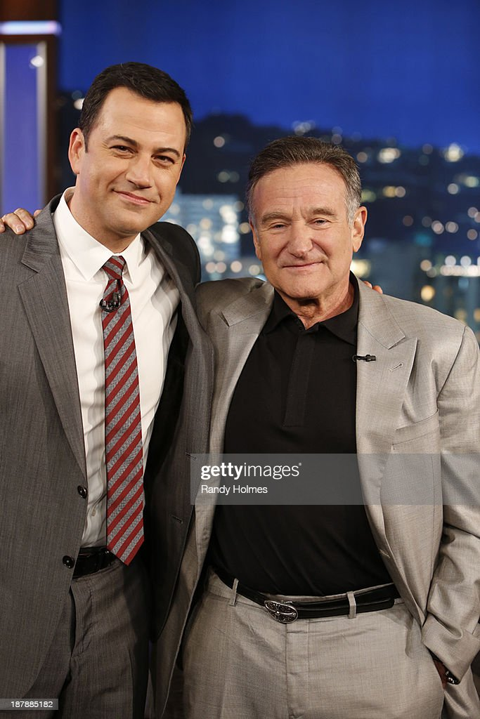 LIVE - Emmy Award-nominated 'Jimmy Kimmel Live' airs every weeknight (11:35 p.m. - 12:41 a.m., ET), packed with hilarious comedy bits and features a diverse lineup of guests including celebrities, athletes, musicians, comedians and humorous human interest subjects. The guests for TUESDAY, NOVEMBER 12 included actor Robin Williams ('The Crazy Ones'), Sarah Hyland, Ariel Winter, Nolan Gould, Rico Rodriguez and Aubrey Anderson-Emmons ('Modern Family') and musical guest The Killers - also featuring Jimmy Kimmel Lives' 'Modern Family Feud: Kids Edition.' JIMMY