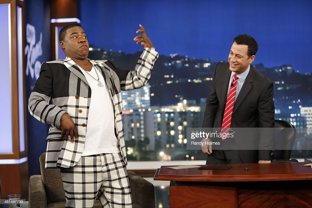 LIVE - Emmy Award-nominated 'Jimmy Kimmel Live' airs every weeknight (11:35 p.m. - 12:41 a.m., ET), packed with hilarious comedy bits and features a diverse lineup of guests including celebrities, athletes, musicians, comedians and humorous human interest subjects. The guests for THURSDAY, NOVEMBER 21 included comedian <a gi-track='captionPersonalityLinkClicked' href=/galleries/search?phrase=Tracy+Morgan&family=editorial&specificpeople=182428 ng-click='$event.stopPropagation()'>Tracy Morgan</a>, actor Chris Pratt ('Delivery Man') and musical guest Pusha T featuring Pharrell Williams also featuring JKLs Unnecessary Censorship. TRACY