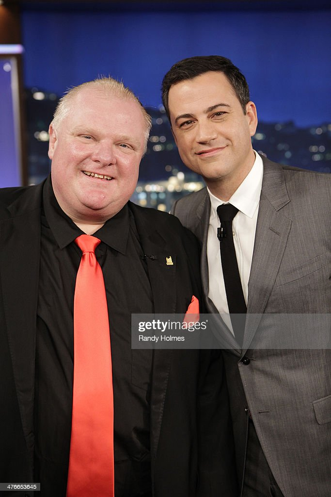 LIVE - Emmy Award-nominated 'Jimmy Kimmel Live' airs every weeknight (11:35 p.m. - 12:41 a.m., ET), packed with hilarious comedy bits and features a diverse lineup of guests including celebrities, athletes, musicians, comedians and humorous human interest subjects. The guests for MONDAY, MARCH 3 included Toronto Mayor Rob Ford and The Great Gonzo ('Muppets Most Wanted'). (ABC/Randy Holmes)ROB FORD, JIMMY KIMMEL