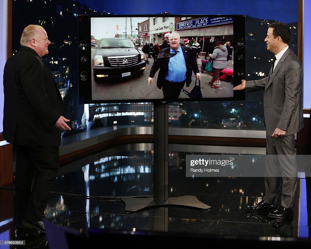 LIVE - Emmy Award-nominated 'Jimmy Kimmel Live' airs every weeknight (11:35 p.m. - 12:41 a.m., ET), packed with hilarious comedy bits and features a diverse lineup of guests including celebrities, athletes, musicians, comedians and humorous human interest subjects. The guests for MONDAY, MARCH 3 included Toronto Mayor Rob Ford and The Great Gonzo('Muppets Most Wanted'). ROB