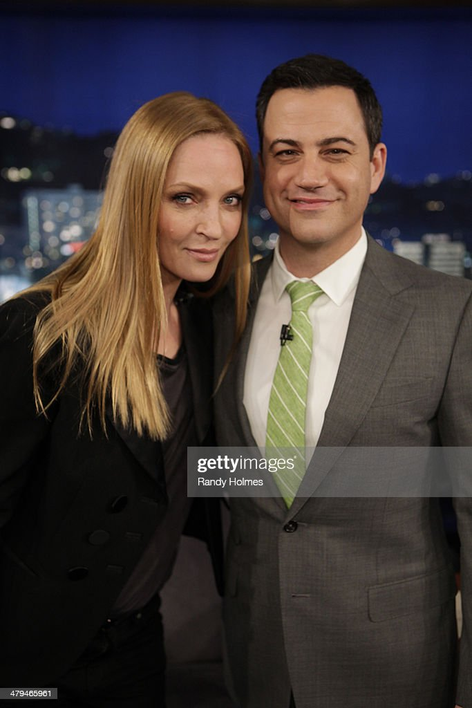 LIVE - Emmy Award-nominated 'Jimmy Kimmel Live' airs every weeknight (11:35 p.m. - 12:41 a.m., ET), packed with hilarious comedy bits and features a diverse lineup of guests including celebrities, athletes, musicians, comedians and humorous human interest subjects. The guests for MONDAY, MARCH 17 included actress <a gi-track='captionPersonalityLinkClicked' href=/galleries/search?phrase=Uma+Thurman&family=editorial&specificpeople=171973 ng-click='$event.stopPropagation()'>Uma Thurman</a> ('Nymphomaniac'), Jai Courtney ('Divergent') and musical guest Amos Lee.