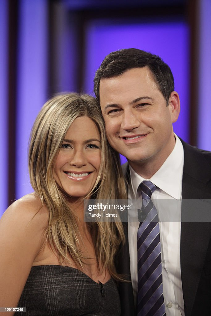 LIVE - Emmy Award-nominated 'Jimmy Kimmel Live' has moved! Tonight was the first installment of the late-night show in its brand new times slot, 11:35PM/10:35PM CT. To kick things off, the guests for TUESDAY, JANUARY 8 included actress Jennifer Aniston and musical guest No Doubt. (Photo by Randy Holmes/ABC via Getty Images)JENNIFER