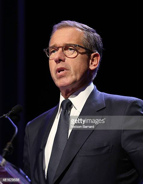 Emmy Awardwinning anchor managing editor of NBC Nightly News Brian Williams speaks at the 57th Annual New York Emmy awards at Marriott Marquis Times...