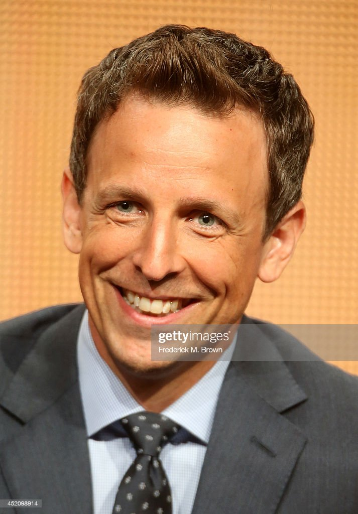 Emmy host <a gi-track='captionPersonalityLinkClicked' href=/galleries/search?phrase=Seth+Meyers&family=editorial&specificpeople=618859 ng-click='$event.stopPropagation()'>Seth Meyers</a> speaks onstage at the 'The 66th Primetime Emmy Awards' panel during the NBCUniversal portion of the 2014 Summer Television Critics Association at The Beverly Hilton Hotel on July 13, 2014 in Beverly Hills, California.