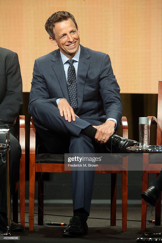 Emmy host Seth Meyers speaks onstage at the 'The 66th Primetime Emmy Awards' panel during the NBCUniversal portion of the 2014 Summer Television Critics Association at The Beverly Hilton Hotel on July 13, 2014 in Beverly Hills, California.