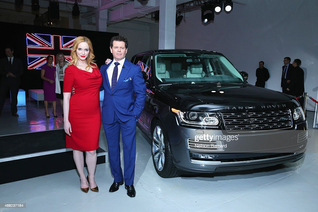 Emmy® nominated actress Christina Hendricks and Gerry McGovern, Design Director and Chief Creative Officer, Land Rover, with the Range Rover SVAutobiography at Jaguar Land Rover's exclusive reception to celebrate the 2015 New York International Auto Show at Center548 on March 31, 2015 in New York City.