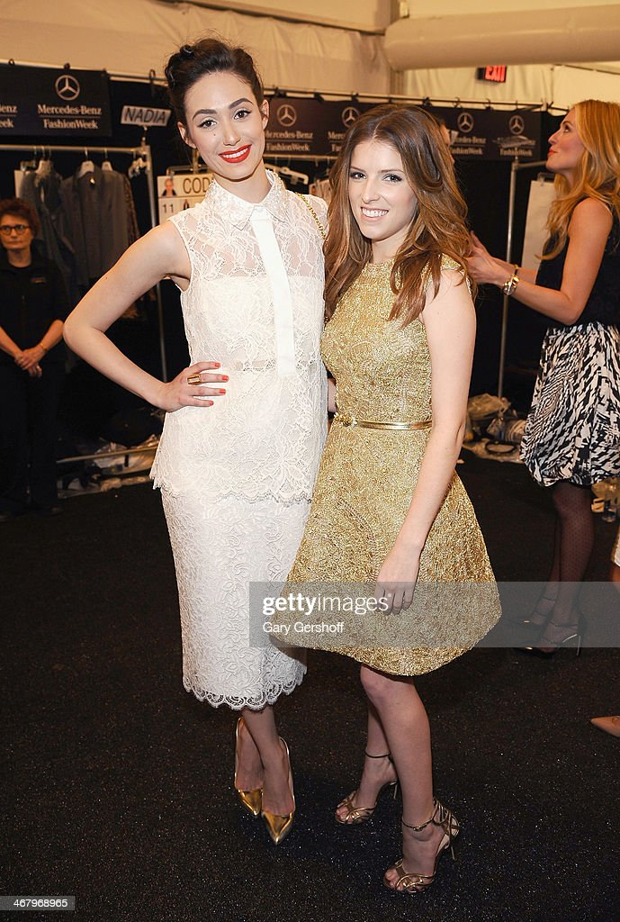 <a gi-track='captionPersonalityLinkClicked' href=/galleries/search?phrase=Emmy+Rossum&family=editorial&specificpeople=202563 ng-click='$event.stopPropagation()'>Emmy Rossum</a> (L) and <a gi-track='captionPersonalityLinkClicked' href=/galleries/search?phrase=Anna+Kendrick&family=editorial&specificpeople=3244893 ng-click='$event.stopPropagation()'>Anna Kendrick</a> pose backstage at the Monique Lhuillier show during Mercedes-Benz Fashion Week Fall 2014 at The Theatre at Lincoln Center on February 8, 2014 in New York City.