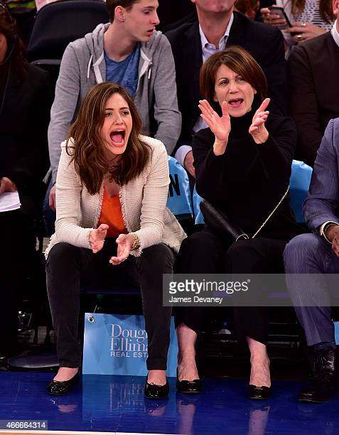 Emmy Rossum and Cheryl Rossum attend San Antonio Spurs vs New York Knicks game at Madison Square Garden on March 17 2015 in New York City