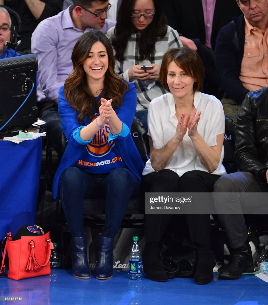 <a gi-track='captionPersonalityLinkClicked' href=/galleries/search?phrase=Emmy+Rossum&family=editorial&specificpeople=202563 ng-click='$event.stopPropagation()'>Emmy Rossum</a> and Cheryl Rossum attend the Boston Celtics vs New York Knicks game at Madison Square Garden on March 31, 2013 in New York City.