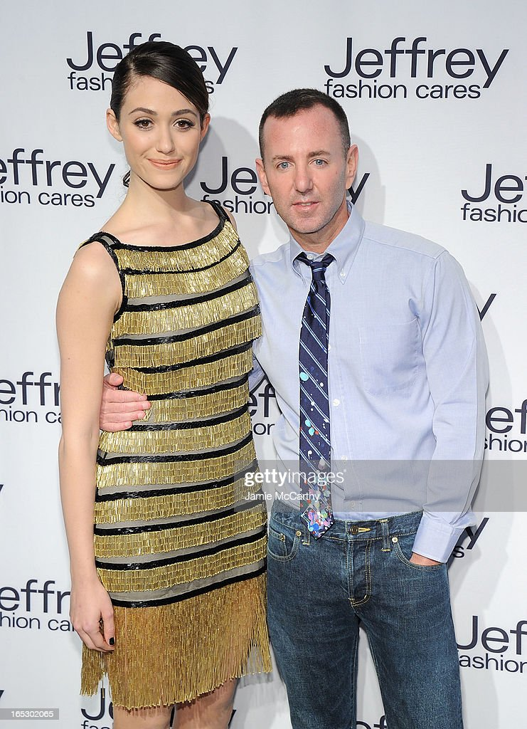 Emmy Rossum and Jeffrey Kalinsky attend the Jeffrey Fashion Cares 10th Anniversary Celebration at The Intrepid on April 2, 2013 in New York City.