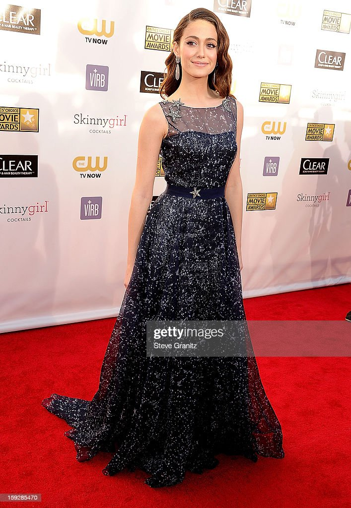 Emmy Rossum arrives at the 18th Annual Critics' Choice Movie Awards at The Barker Hangar on January 10, 2013 in Santa Monica, California.