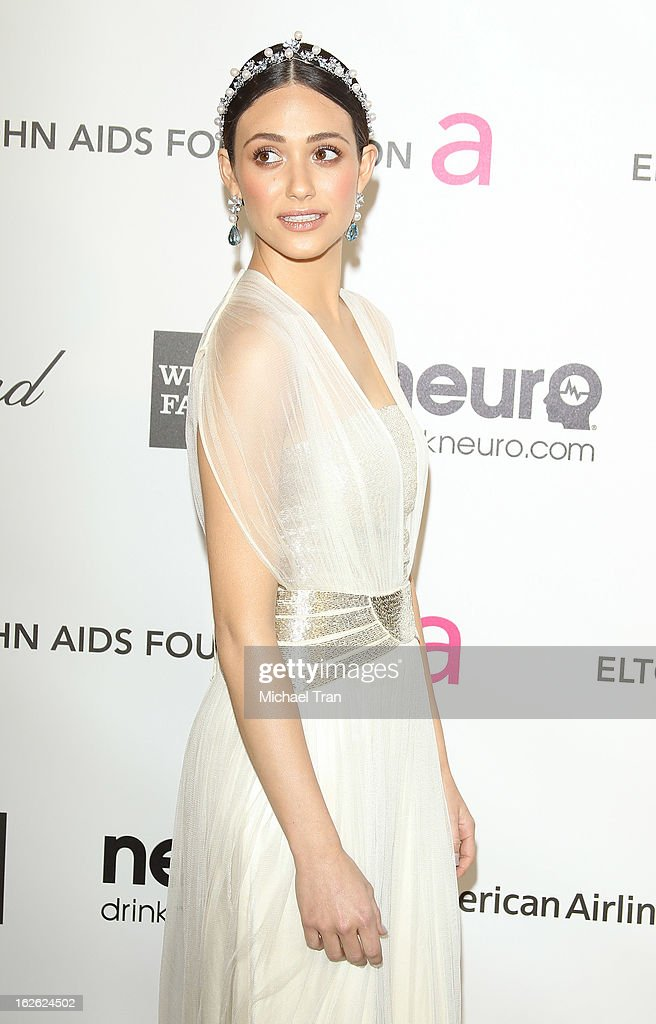 Emmy Rossum arrives at the 21st Annual Elton John AIDS Foundation Academy Awards viewing party held at West Hollywood Park on February 24, 2013 in West Hollywood, California.