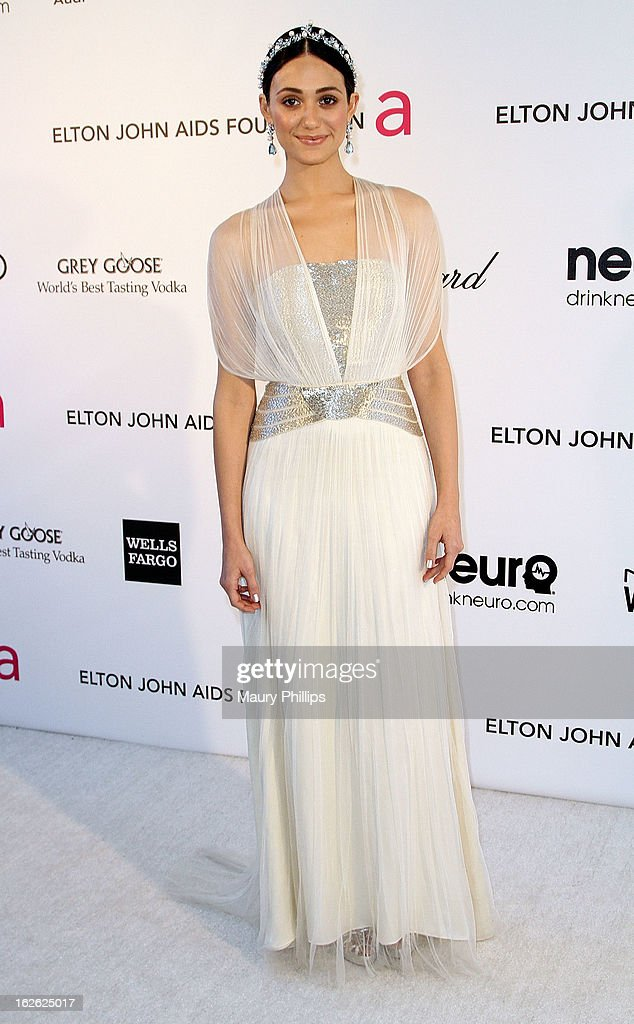 Emmy Rossum arrives at the 21st Annual Elton John AIDS Foundation Academy Awards Viewing Party at Pacific Design Center on February 24, 2013 in West Hollywood, California.