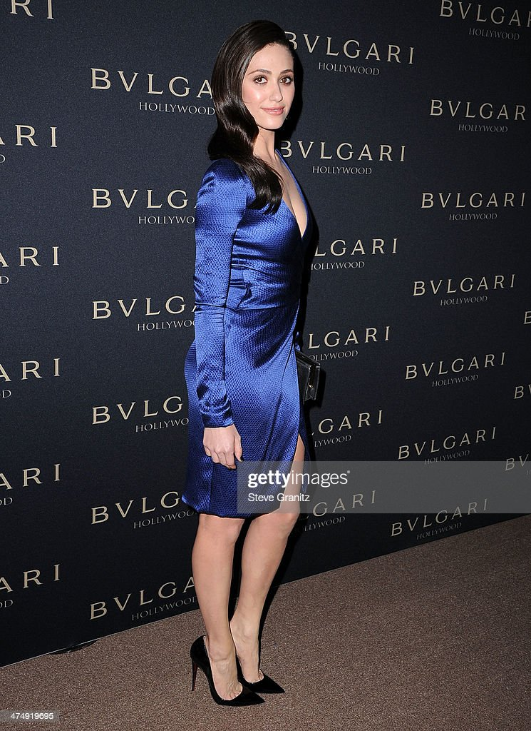 <a gi-track='captionPersonalityLinkClicked' href=/galleries/search?phrase=Emmy+Rossum&family=editorial&specificpeople=202563 ng-click='$event.stopPropagation()'>Emmy Rossum</a> arrives at the BVLGARI 'Decades Of Glamour' Oscar Party Hosted By Naomi Watts at Soho House on February 25, 2014 in West Hollywood, California.
