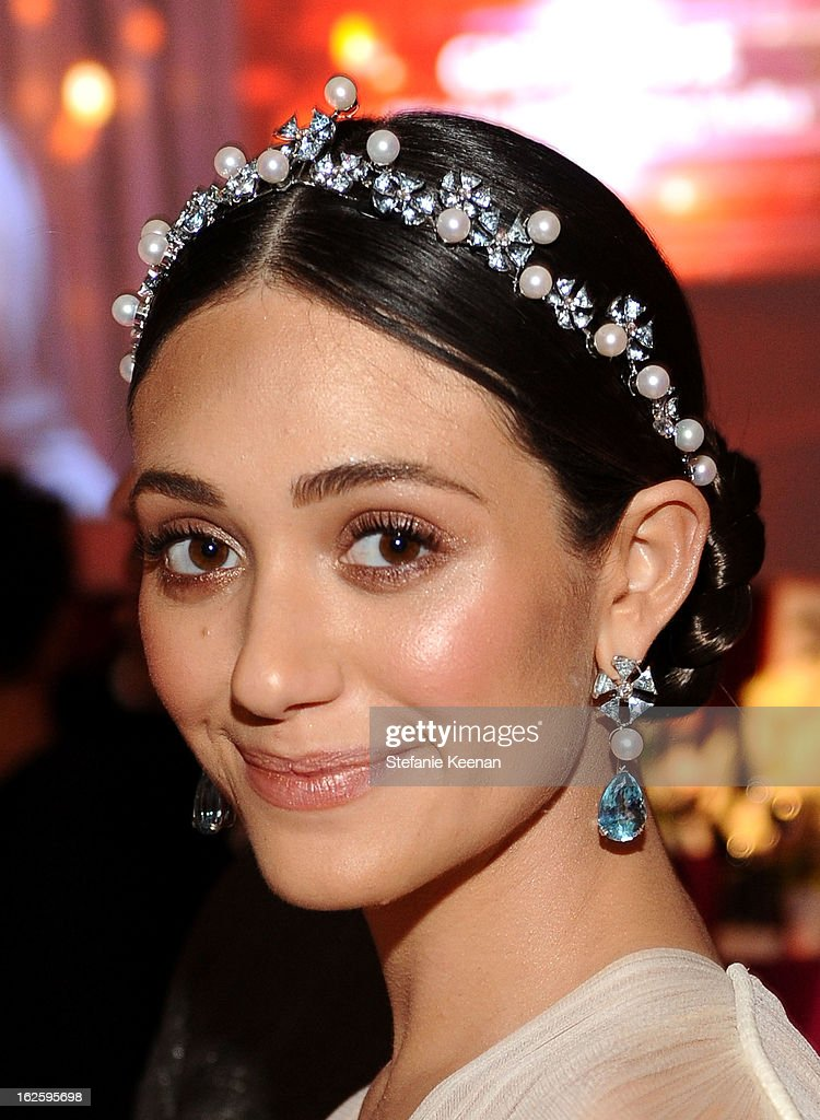 Emmy Rossum attends Chopard at 21st Annual Elton John AIDS Foundation Academy Awards Viewing Party at West Hollywood Park on February 24, 2013 in West Hollywood, California.