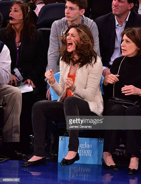 Emmy Rossum attends San Antonio Spurs vs New York Knicks game at Madison Square Garden on March 17 2015 in New York City