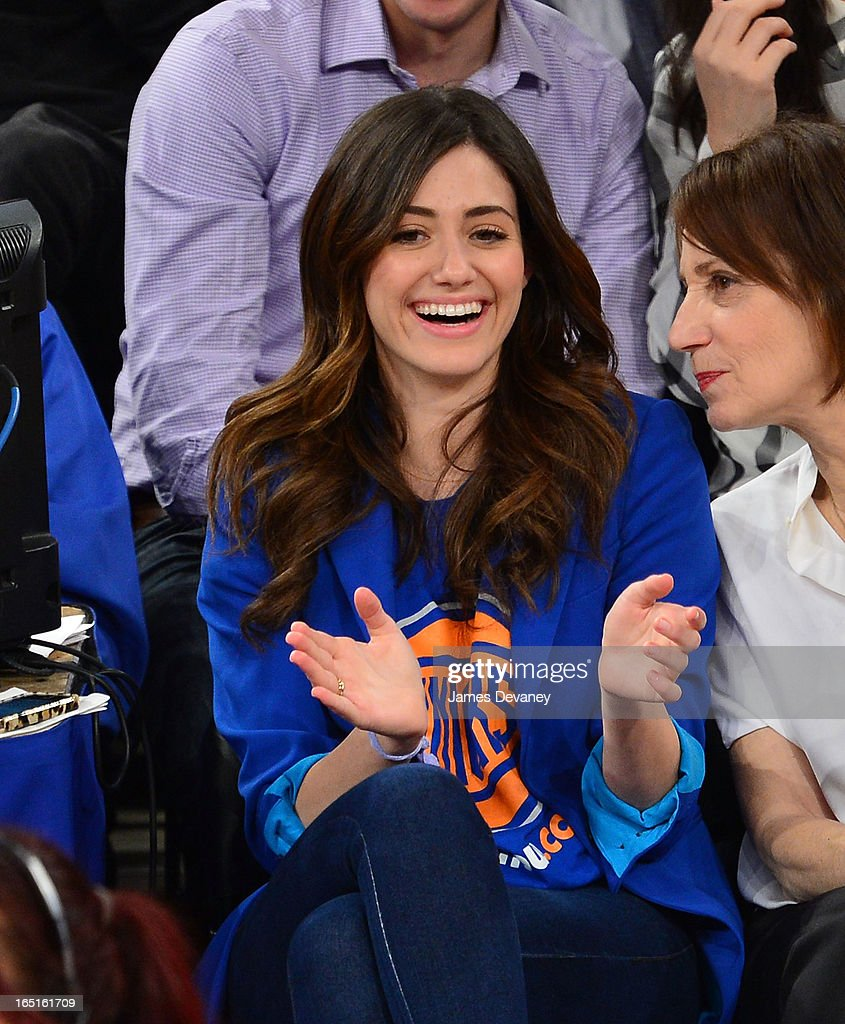 <a gi-track='captionPersonalityLinkClicked' href=/galleries/search?phrase=Emmy+Rossum&family=editorial&specificpeople=202563 ng-click='$event.stopPropagation()'>Emmy Rossum</a> attends the Boston Celtics vs New York Knicks game at Madison Square Garden on March 31, 2013 in New York City.