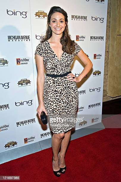 Emmy Rossum attends the Michigan Avenue Magazine's September issue cover party at Harry Caray's Italian Steakhouse on August 21 2011 in Chicago...