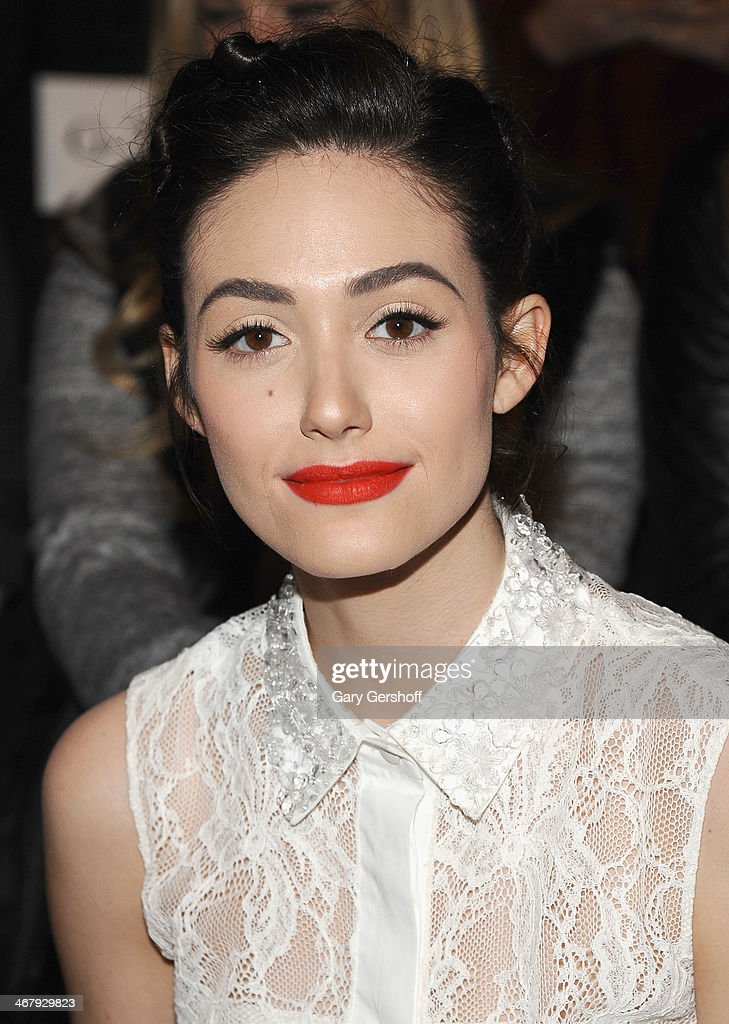 <a gi-track='captionPersonalityLinkClicked' href=/galleries/search?phrase=Emmy+Rossum&family=editorial&specificpeople=202563 ng-click='$event.stopPropagation()'>Emmy Rossum</a> attends the Monique Lhuillier show during Mercedes-Benz Fashion Week Fall 2014 at The Theatre at Lincoln Center on February 8, 2014 in New York City.