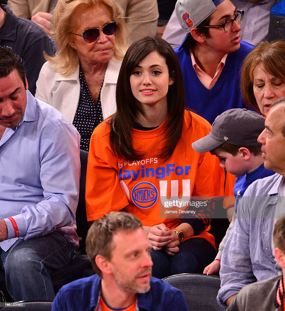 <a gi-track='captionPersonalityLinkClicked' href=/galleries/search?phrase=Emmy+Rossum&family=editorial&specificpeople=202563 ng-click='$event.stopPropagation()'>Emmy Rossum</a> attends the New York Knicks vs Indiana Pacers NBA playoff game at Madison Square Garden on May 5, 2013 in New York City.