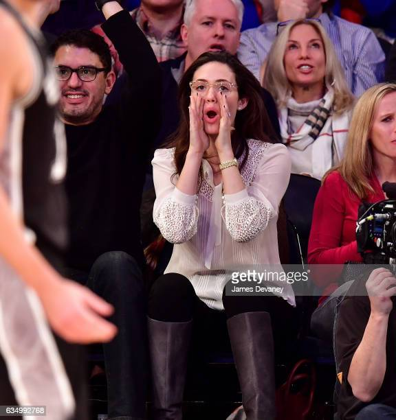Emmy Rossum attends the San Antonio Spurs Vs New York Knicks game at Madison Square Garden on February 12 2017 in New York City