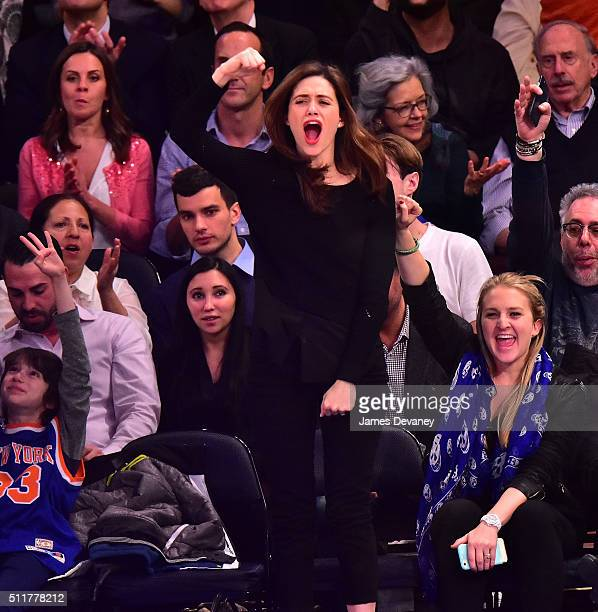 Emmy Rossum attends the Toronto Raptors vs New York Knicks game at Madison Square Garden on February 22 2016 in New York City